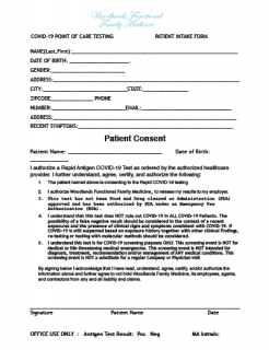 COVID-19 Patient Consent Intake Form